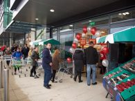 Queuing to get into the new Store for The Food Warehouse at Anlaby Retail Park